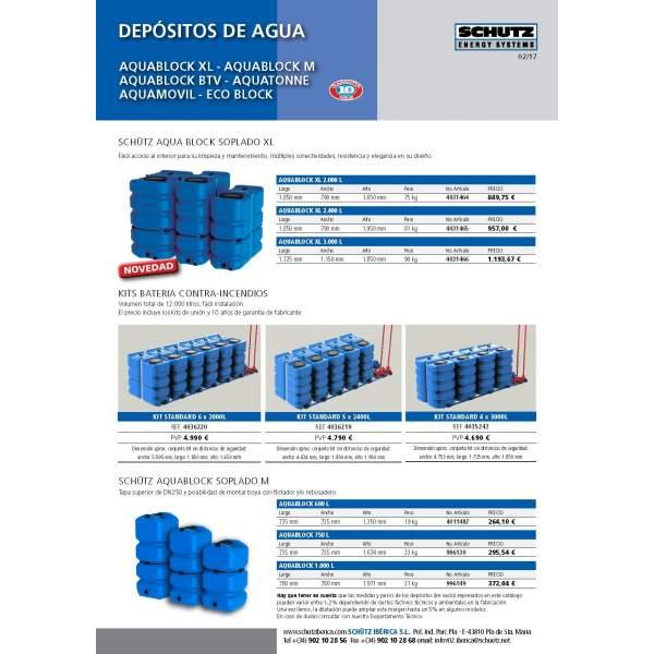Tarifa 2017 Schutz depósitos y accesorios de agua.