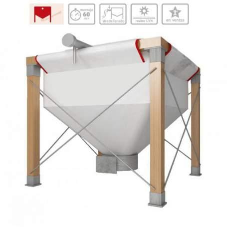 Ecosilo 150G silo ecológico para pellets o hueso de aceituna 150x150 cm