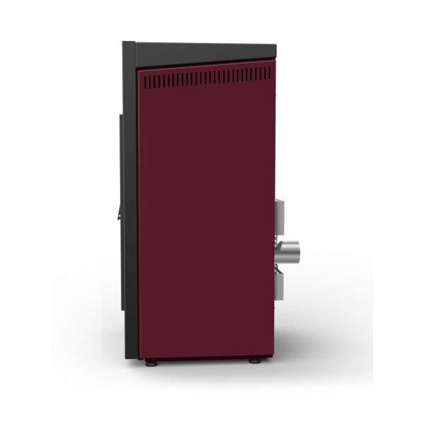 Qube basic estufa pellet rojo corinto de 8 kW. De aire. Lasian.