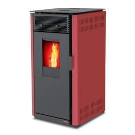Estufa Lascar burdeos de pellets 8 kW. Lasian.