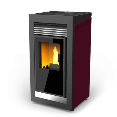Estufas Qube basic rojo corinto de pellets aire 10 kW. Lasian.