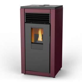 Estufa de pellets Smart basic roja de 8 kW. De aire. Lasian.