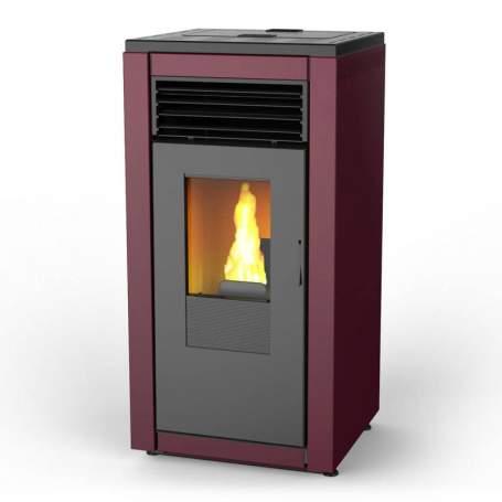 Estufas pellets 12 kW rojo corinto de aire Smart basic. Lasian
